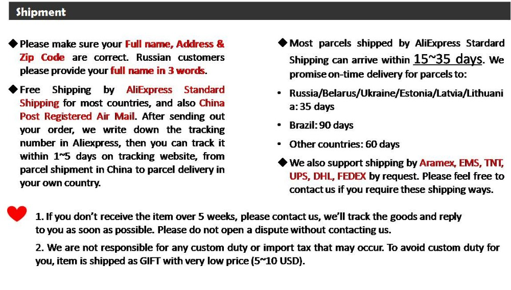 Final notice 2-Aliexpress standard shipping