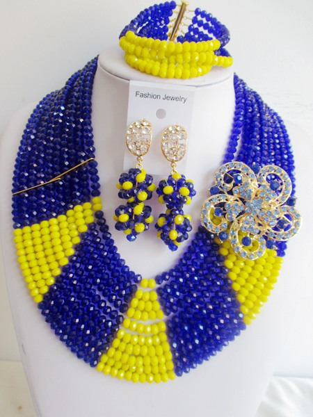 2015 luxury blue african crystal beads necklace set nigerian wedding african beads jewelry set Free shipping P-847<br><br>Aliexpress