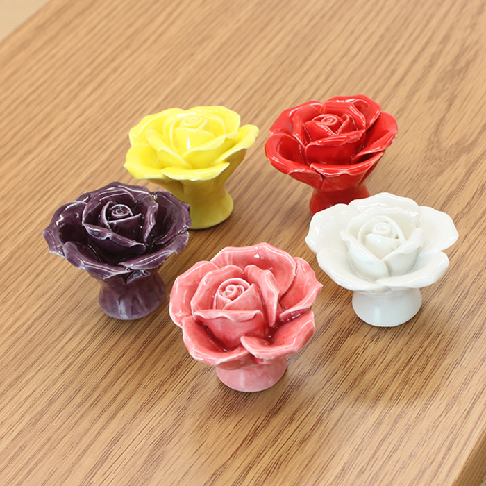 Creative Cupboard Cabinet Pull Handle Rose Flower Knob Ceramic Dresser Knobs / Unique Porcelain Drawer Knobs Pulls(China (Mainland))