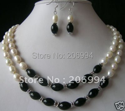 fashion jewelry set Real White Freshwater cultured Pearl Black Onyx Necklace Earrings free shipping(China (Mainland))