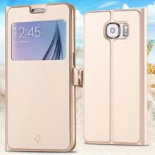 Телефон чехол кожа, для S6 чехол вид окно полиуретан 9-элементный для Galaxy S6 G9200 ультра перевёрнутый полный стойка чехол мешок