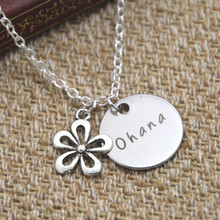 Buy 12pcs/lot Ohana Means Family necklace Inspired Lilo & Stitch Silver crystals women girls for $16.14 in AliExpress store