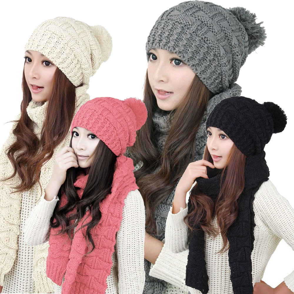JECKSION 1Set Women Scarf Hats 2016 Fashion Warm Winter Woolen Knit Hood Shawl Caps Suit Free Shipping #LYW
