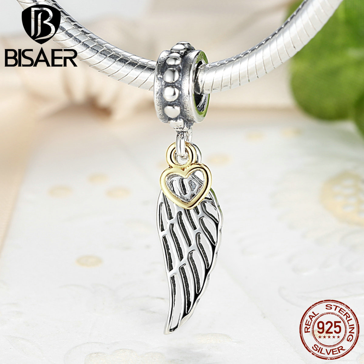 100% 925 Sterling Silver Angel Wing Pendant & Charm Fit Pandora Bracelet  With Glimmering Heart Twotone Dangle As047