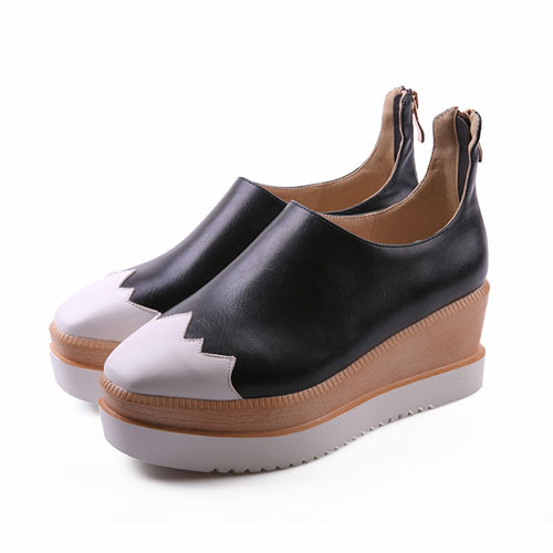 ENMAYER basic zip Patchwork mixed colors Casual nice women flats closed square toe Platform flats black red white PU shoes flats<br><br>Aliexpress