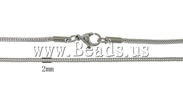 Free shipping!!!Necklace Chain,2013 Jewelry, Stainless Steel, stainless steel lobster clasp, oril color, 2mm, Length:17 Inch