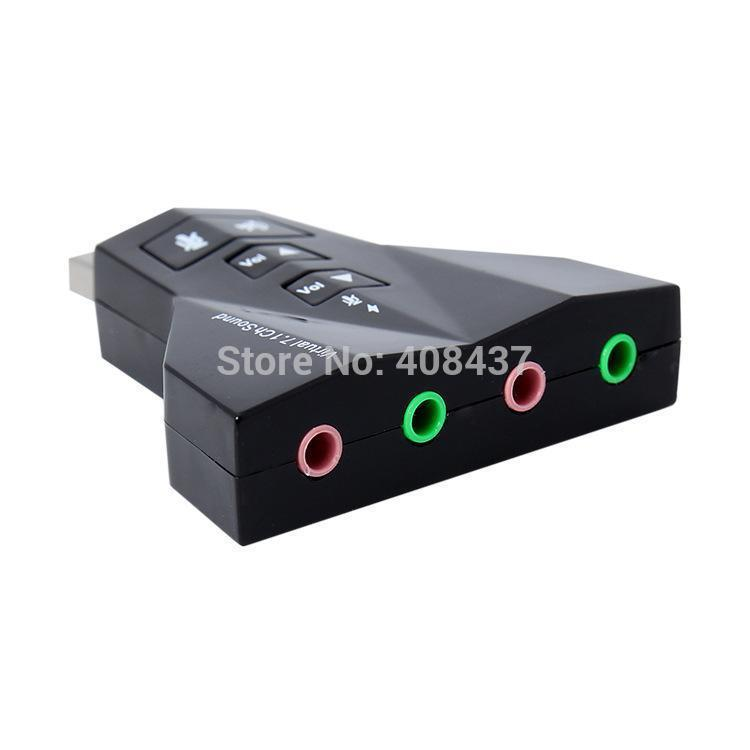 External USB Sound Card 7.1 Channel Air plane Shape Audio Adapter For Laptop Desktop WIth Dual Earphone Microphone Plugin Jack(Hong Kong)