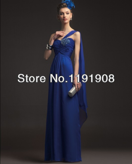 2015 Sexy Evening Dresses Chiffon Royal Blue One-shoulder Elegant Pleats Shiny Beaded Sequins Formal Prom Cheap Corset Gowns Hot(China (Mainland))