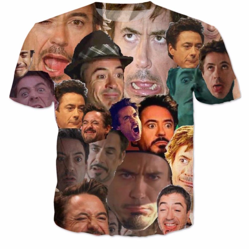 Women/Men Robert Downey Jr. Paparazzi funny face Collage T-Shirt RDJ Bob Bobby rubber ducky Ron LOL HAHA tops t shirt tees