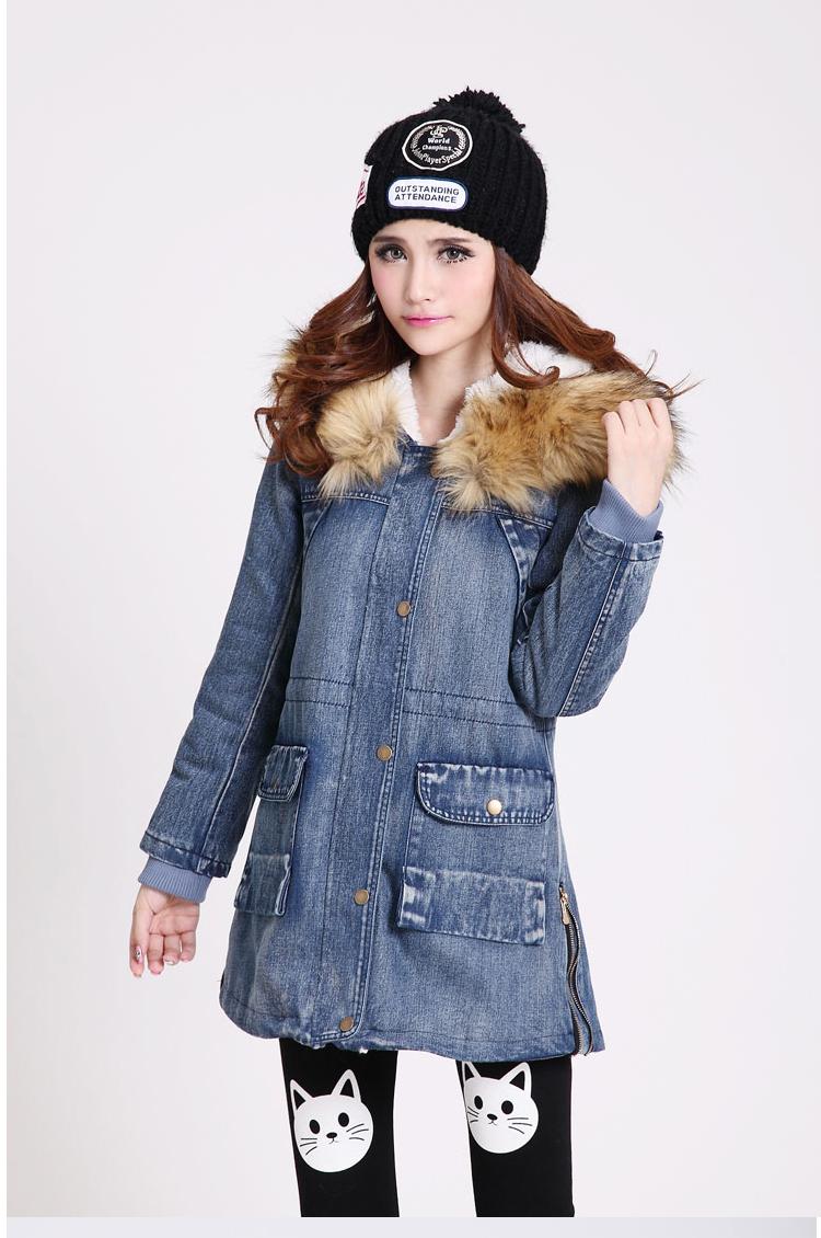 Фотография Winter Parka Women Denim Coat Thicken Fur Collar Cotton-Padded Slim Waist Medium-Long Outerwear Winter Jeans Jacket Women H5442