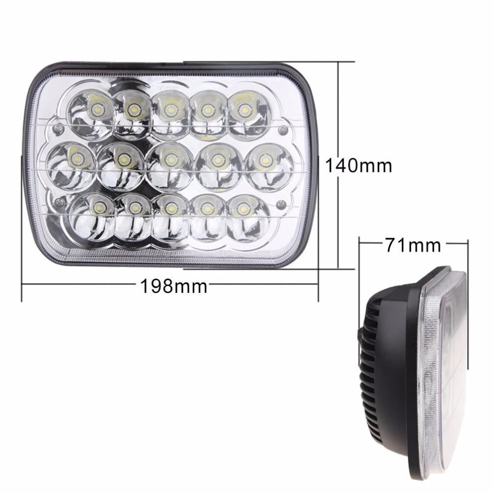 Фотография 6x7 inch 45W LED Crystal Clear Je ep Cherokee XJ Headlamp Headlight Pair 6054 (Free Shipping)
