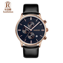 Top Brand Luxury KASHIDUN New Fashion Big Dial Quartz Watches Mens Waterproof Leather Strap Stop Watch relogio masculino relojes