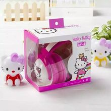 2016 Hello Kitty stereo Headphone with Mic for mobile phone cute music kids MP3 player headset gift box cartoon headband AY4