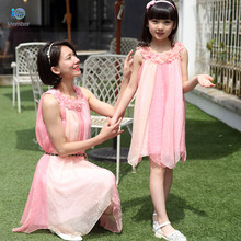 Mother daughter dresses clothes Woman dress Mother and daughter to make Chiffon dress son mother and daughter clothing 20#