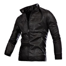 2015 New Arrival Leather Jacket Motorcycle Men Stand Collar Black Brown Men's Leather Jacket Slim Jaqueta De Couro Masculino(China (Mainland))