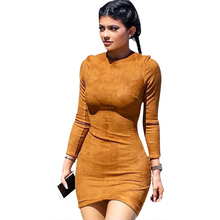 2015 Long Sleeve Slim Party Dress Sexy Club Brown Vestido Women Winter Dresses Kylie Jenner Skin Tight Faux Suede Bodycon Dress(China (Mainland))