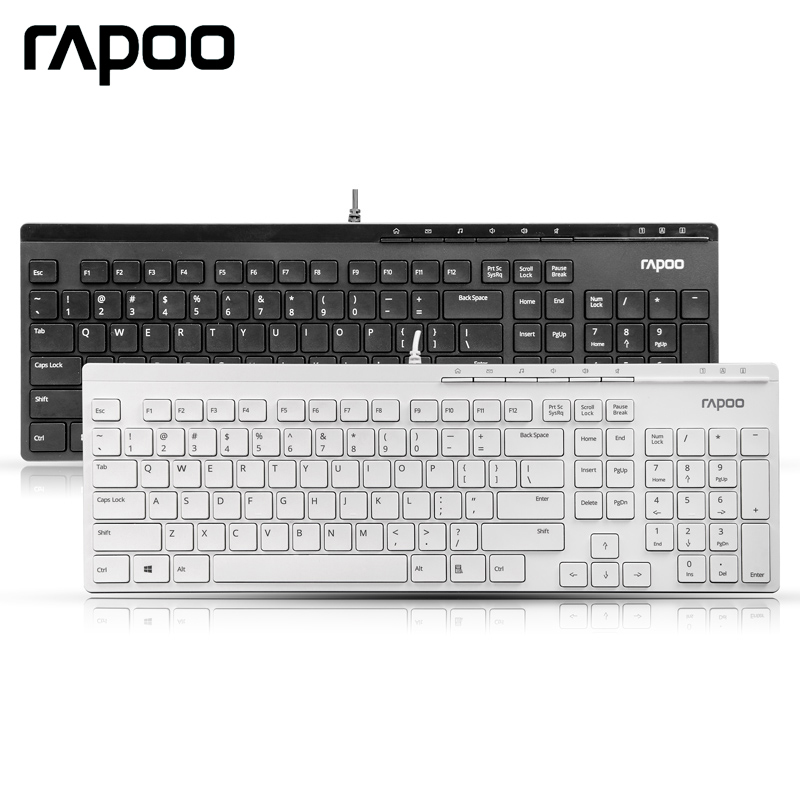 Rapoo Genuine Multimedia Wired Keyboard Mute Ultra-thin Slim USB Plug-and-Play N7000 for Laptop Desktop PC Computer(China (Mainland))