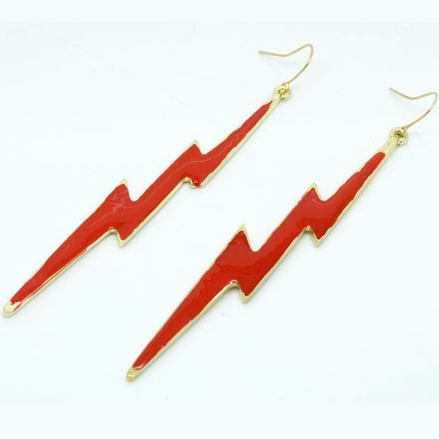 LEYU Gothic exaggerated bohemia Fluorescent color lightning dangle Drop earrings tassel chain ear hook EAR JEWELRY(China (Mainland))