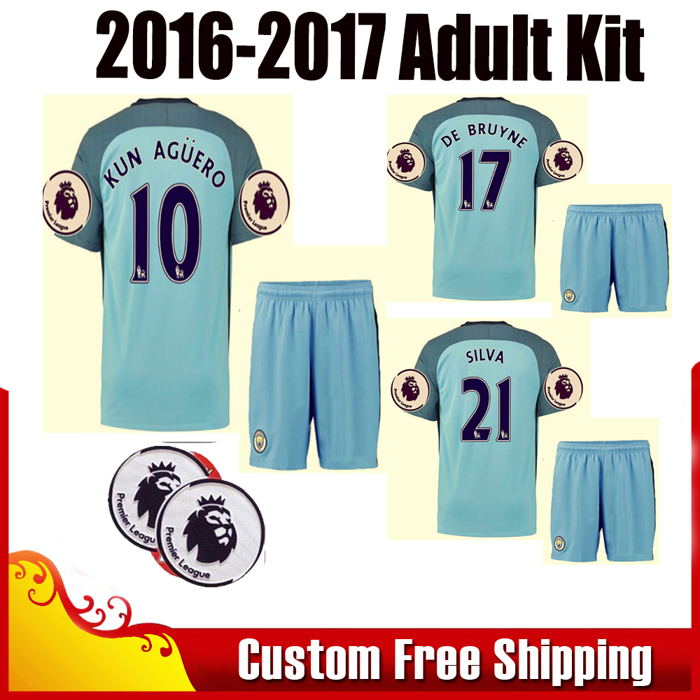 free patches 2016-2017 adult kit set Soccer Jerseys 16 17 adult kit Football shirt SORRYNAM city Maillot De Foot free shipping(China (Mainland))