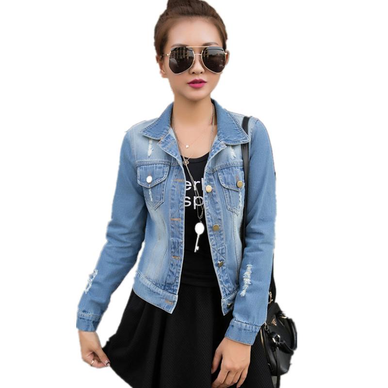S-XL Autumn Long Sleeve Women Denim Jacket Frayed Jeans Jacket Women Oversized Jean Coat plus size women Outwear new fashion(China (Mainland))