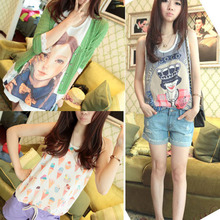 Hot Sale Womens Girls Chiffon Printed Tank Top Vest Sleeveless T Shirt Blouse Tops