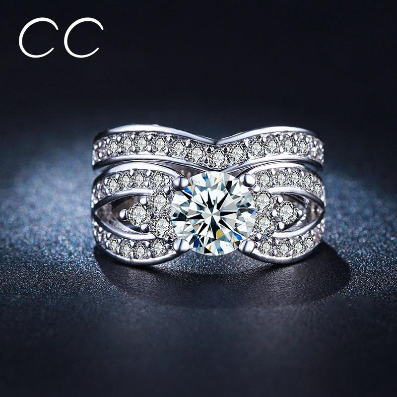 popular cubic zirconia cz wedding ring set buy cheap cubic