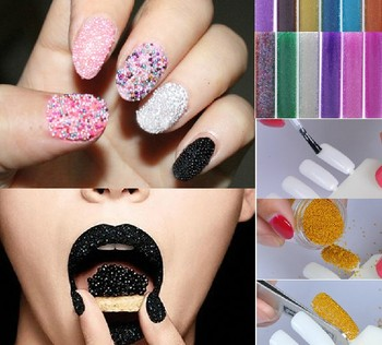 Hot seller 15g big bottle Caviar Nails Nail Art DIY Carving Pattern Powder Glitter Bead Nail Decoration for 18different colors