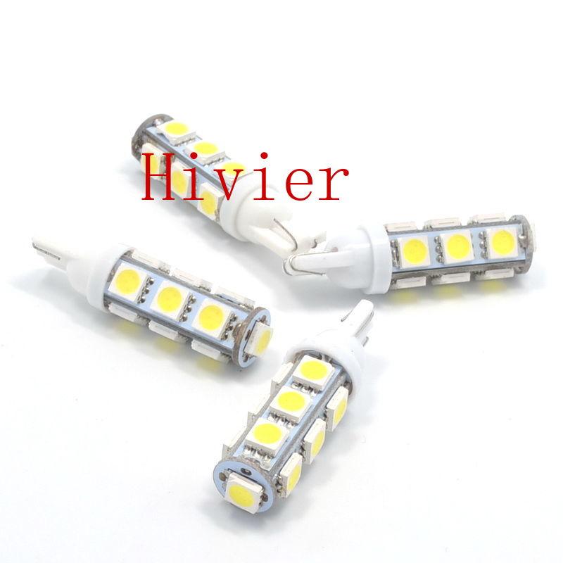 High Quality 100X White T10 13 SMD 5050 13LED 13Smd 194 168 192 Auto Car Side Light Bulb W5W LED Wedge Lamp dc 12V wholesale(China (Mainland))