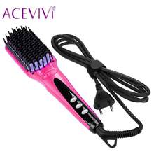 ACEVIVI Digital Electric Hair Straightener Brush Comb Detangling  Straightening Irons Hair Brush EU/ US/ UK Plug(China (Mainland))