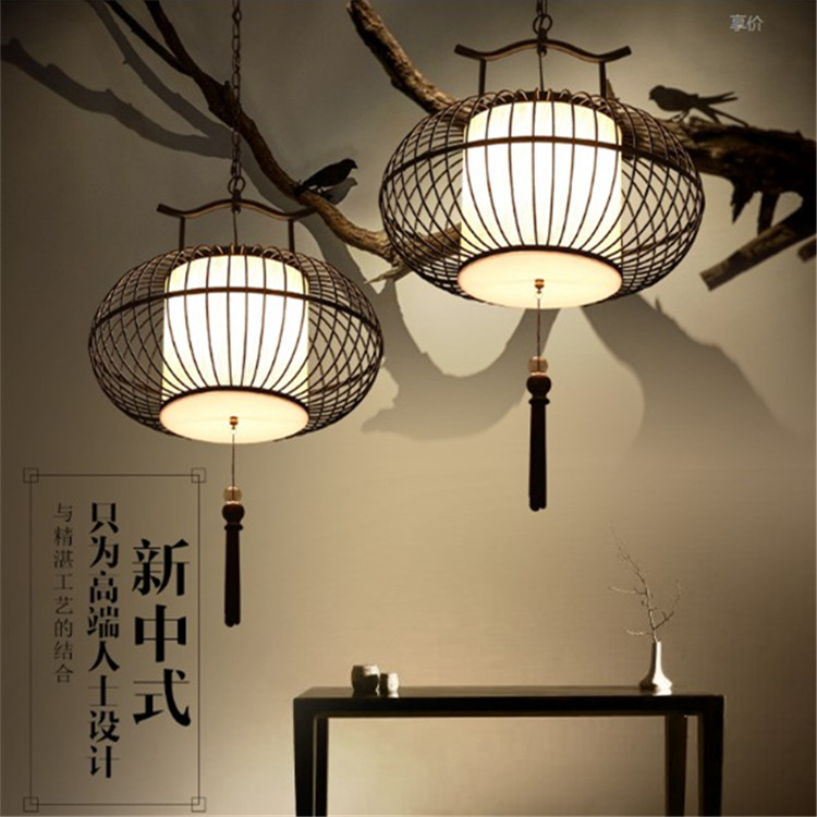 New chinese style wrought iron pendant light antique bird cage lamp bird cage pendant light balcony lamps(China (Mainland))