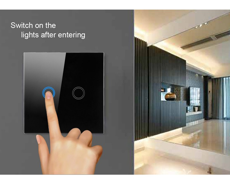 image for Wholesale EU/UK 2Gang 1 Remote Control Wireless Wall Touch Switch Crys