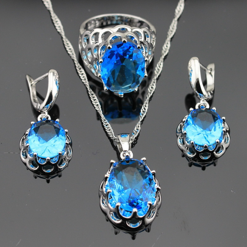 oval imitated light blue topaz silver color jewelry sets