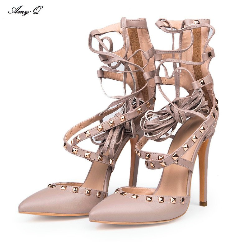 PADEGAO fashion novelty  light grey PU Cross Lacing 11 cm high-heeled women shoes, pointed toe pumps party shoes SIZE:34-43