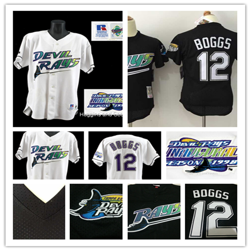 Men's 1998 home White Tampa Bay Rays Throwback VINTAGE Baseball jersey Pullover Mesh BP Black #12 Wade Boggs Jersey(China (Mainland))