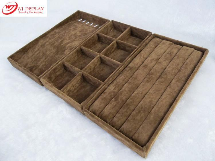 Fashion organizer brown velvet 11x22cm jewelry display for Velvet jewelry organizer trays