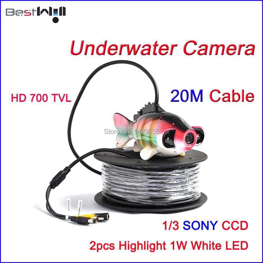 FREE Shipping Underwater Camera Underwater Fishing Camera CR006J with 2pcs 1W Highlight White LED @ 20M Cable(China (Mainland))