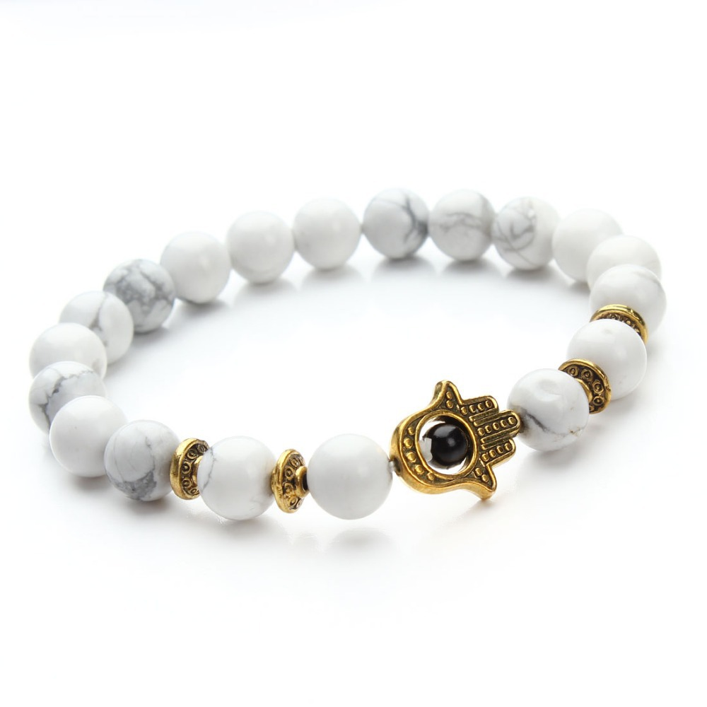 1 pcs Nature 8mm Black Lava Energy Stone Beads Bracelet Gold Hamsa Hand Charm Bracelet Yoga Mala Bracelets F2830(China (Mainland))