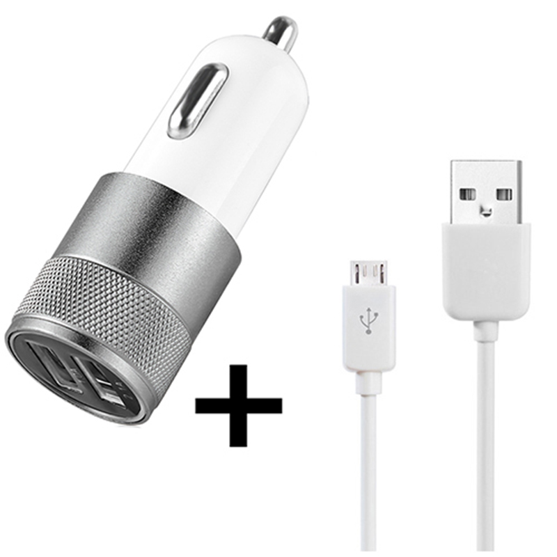 Universal Dual USB Car Charger+ USB Charging Data Cable For Samsung HTC LG Sony Huawei Xiaomi USB Data Cable Car Charger(China (Mainland))