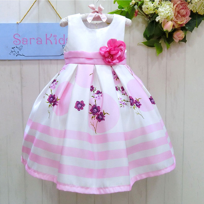 Wholesale striped ball gown baby girls dress sleeveless flower dress party dress evening dress  2015615