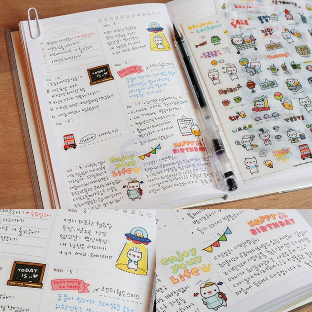 Гаджет  3 Packs (18 sheets) Kawaii DIY Planner Korea Diary Deco Stickers Transparent Scrapbooking Calendar Sticker Free Shipping None Офисные и Школьные принадлежности