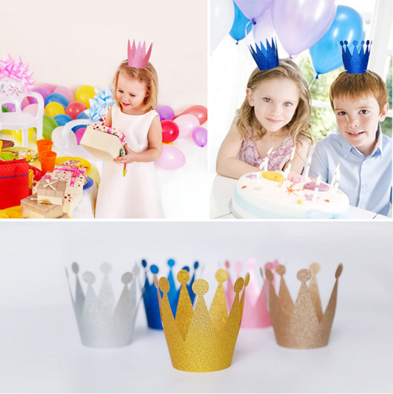 2016 Glitter Powder Coating Birthday Cap Creative Princess Prince Imperial Crown Hat Kids Adults Birthday Party Supplies WD021(China (Mainland))