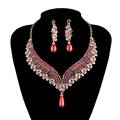 India style bridal wedding necklace earrings set pink color Party fashion jewelry sets Crystal pearl design