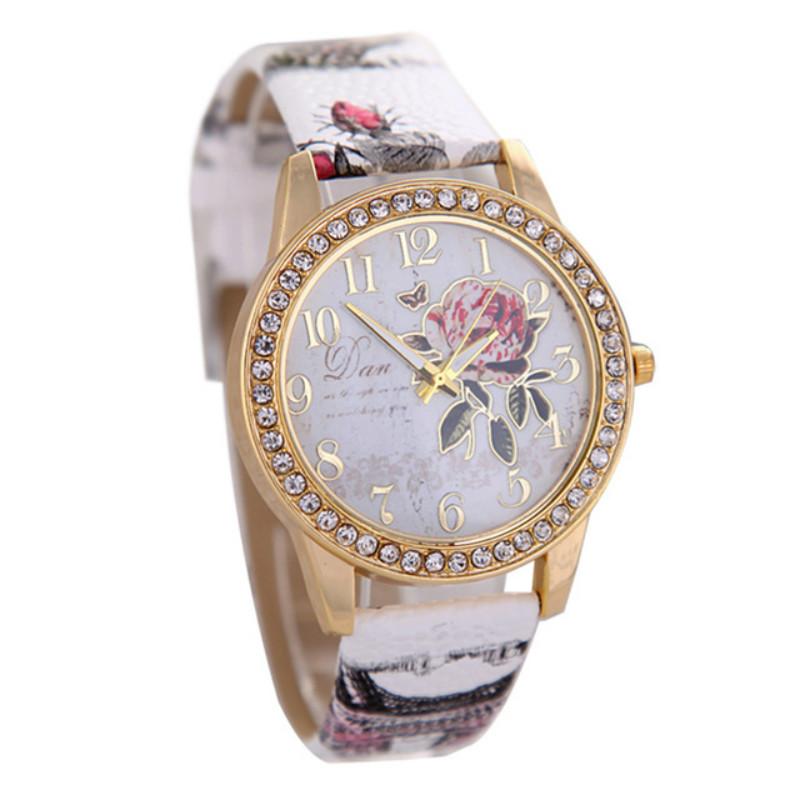 Promotion 2016 Vintage Retro Casual Watch Wristwatches Women New Fashion Leather Quartz Watches Flower Pattern Relogio feminino(China (Mainland))