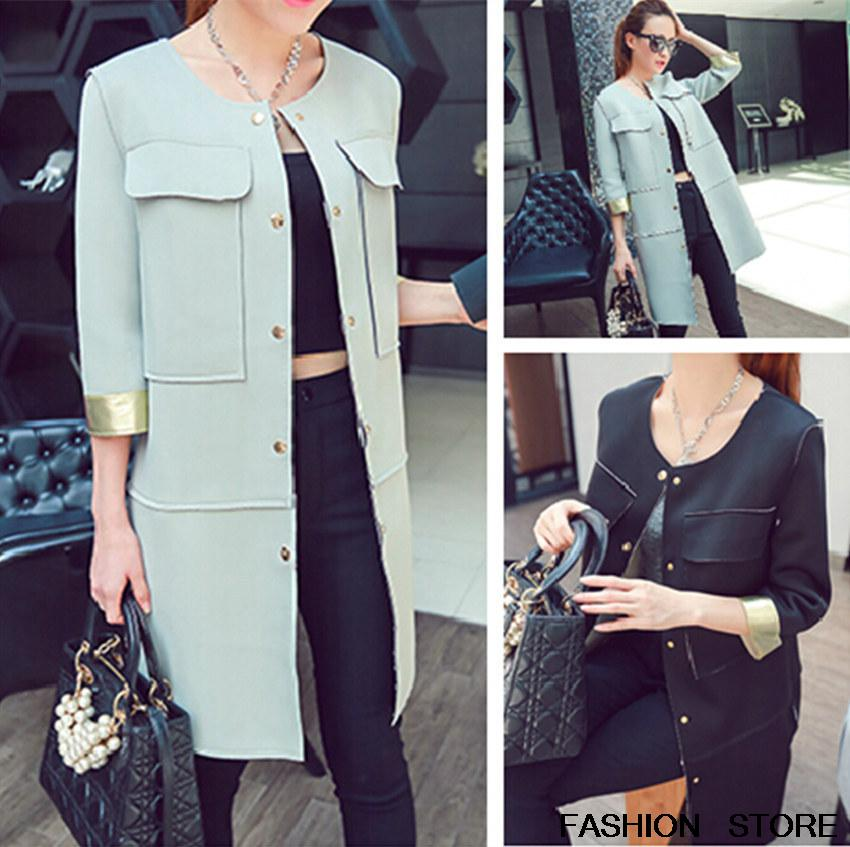 fall 2014 new seven long splicing sleeve trench coat handsome cultivate one's morality - BOBO FASHION STORE store