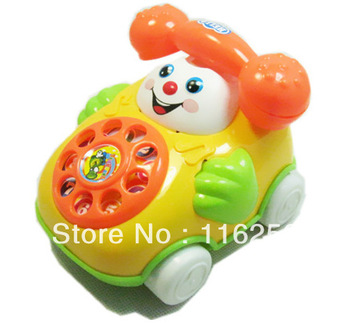 Backguy smiley phone music baby phone educational toys for baby free shipping Pull line telephone car 5PCS/LOT ZF013