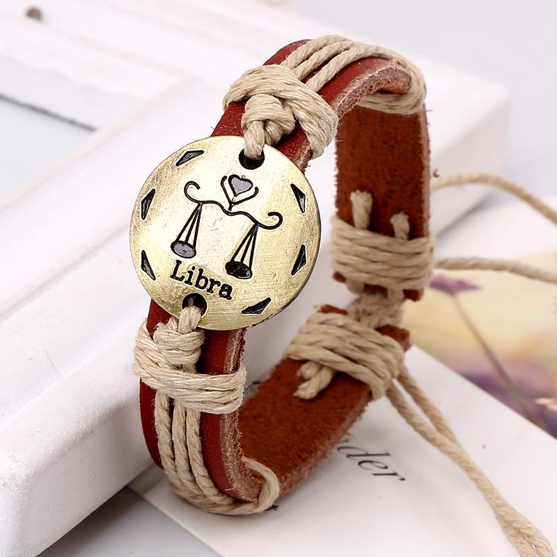 12 Constellation Genuine Leather Bracelets & Bangles Handmade Braided Adjustable Pulseras - Ustyle! Store store