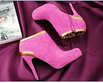 2015 Women new fashion spring autumn spring platform stiletto 10cm thin high heels shoes martin boots large plus size 40-43(China (Mainland))