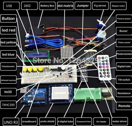 Starter Kit Open Source hardware/ Step Motor /Servo/ 1602 LCD/ Breadboard/ jumper Wire/ R3