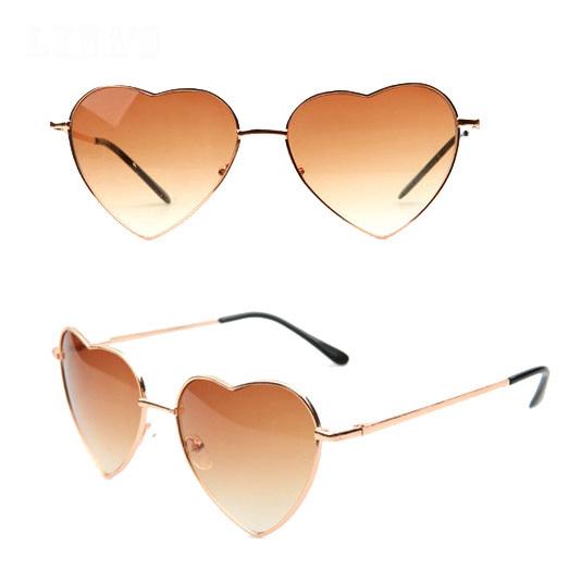 Lovely Heart Shaped Sunglasses Women Vintage shades glasses Mirror Sun glasses S-166(China (Mainland))