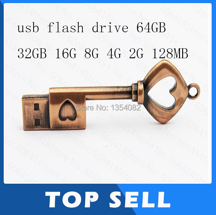 USB Pen Drive Metal Pure Copper Heart Key Gift USB Flash Drive mini USB stick Key Genuine 2gb 4gb 8gb 16gb 32gb 64gbThumb Stick(China (Mainland))